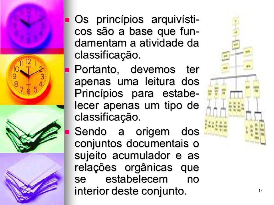Os princípios arquivísti-cos são a base que fun-damentam a atividade da classificação.