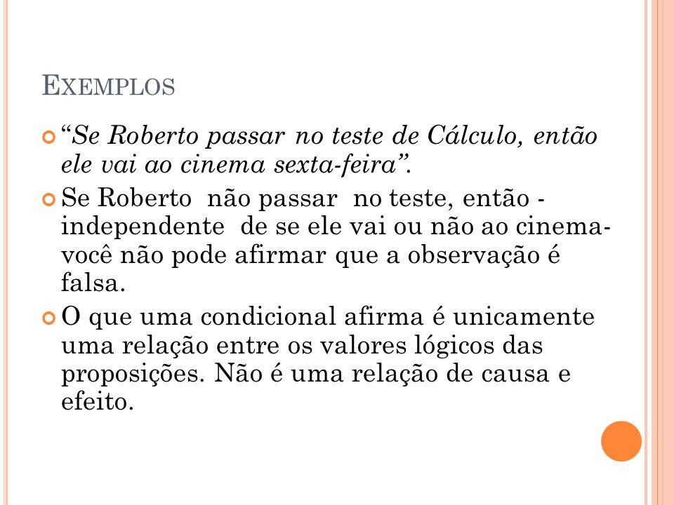 Exemplos Se Roberto passar no teste de Cálculo, então ele vai ao cinema sexta-feira .