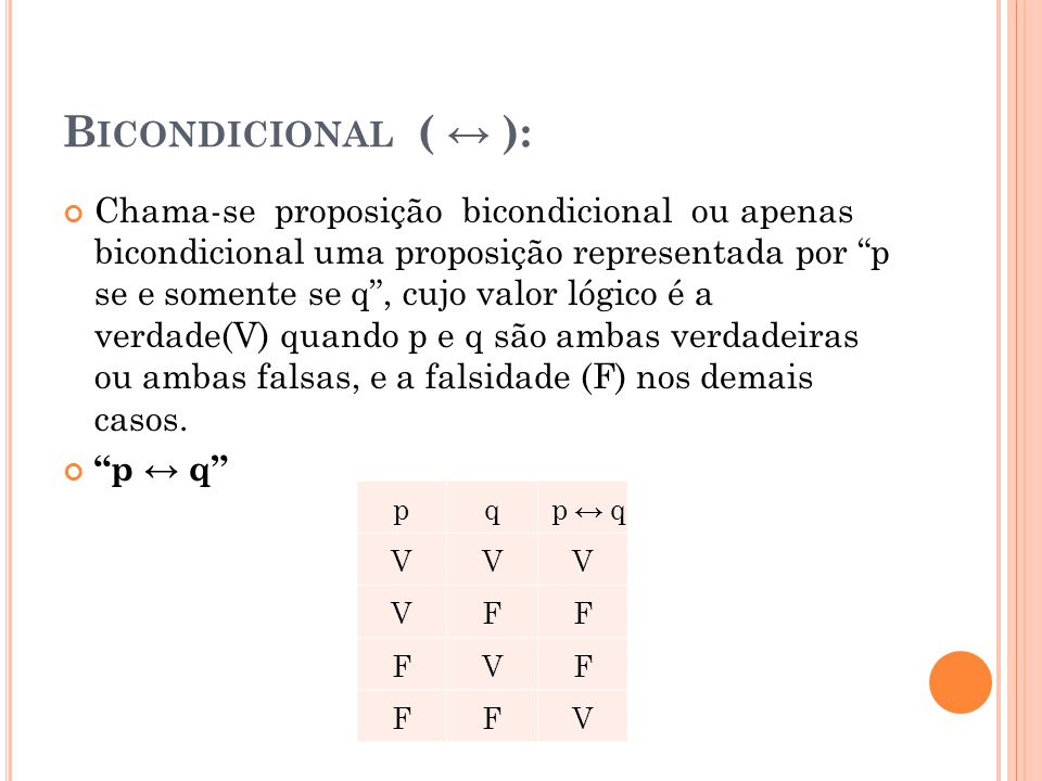 Bicondicional ( ↔ ):