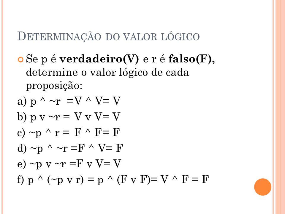 Determinação do valor lógico