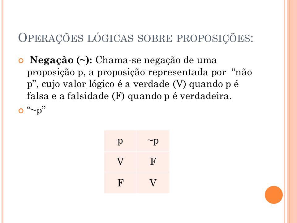 Operações lógicas sobre proposições: