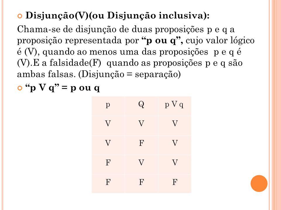 Disjunção(V)(ou Disjunção inclusiva):
