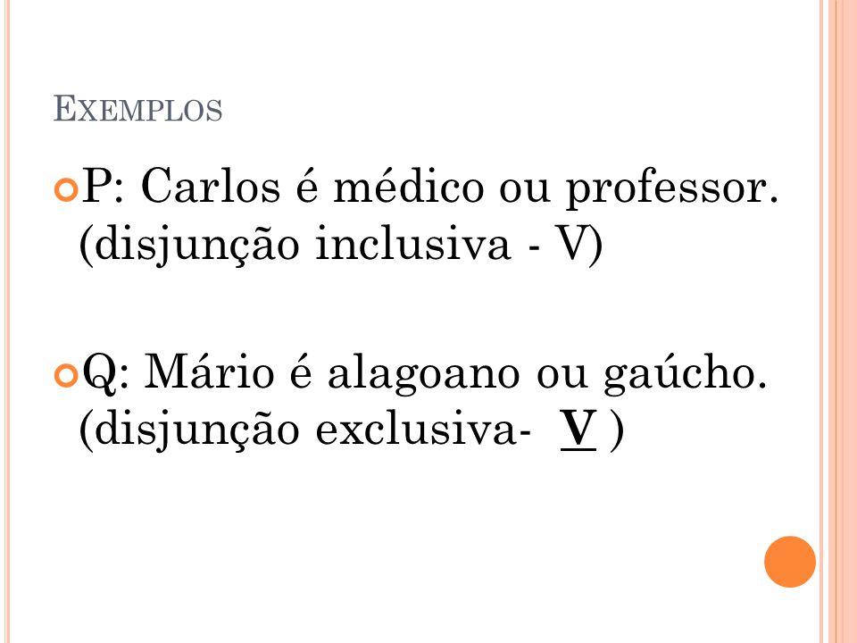 P: Carlos é médico ou professor. (disjunção inclusiva - V)