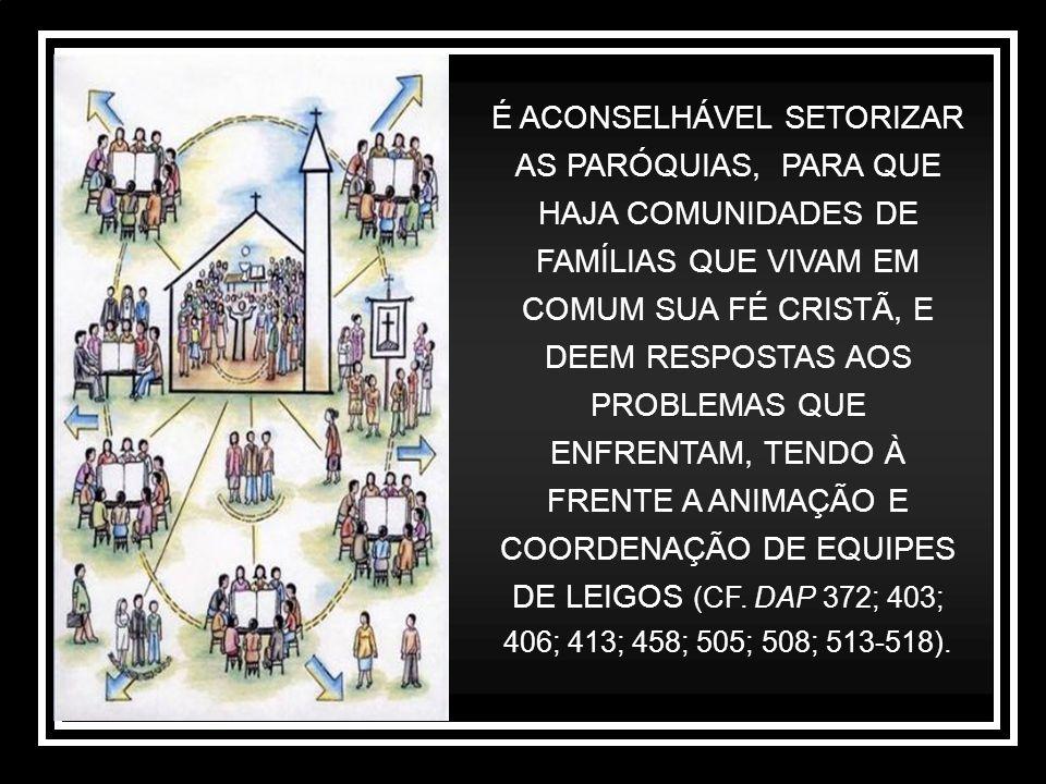 É ACONSELHÁVEL SETORIZAR AS PARÓQUIAS, PARA QUE HAJA COMUNIDADES DE FAMÍLIAS QUE VIVAM EM COMUM SUA FÉ CRISTÃ, E DEEM RESPOSTAS AOS PROBLEMAS QUE ENFRENTAM, TENDO À FRENTE A ANIMAÇÃO E COORDENAÇÃO DE EQUIPES DE LEIGOS (CF.