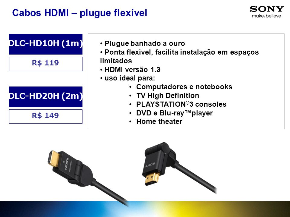 Cabos HDMI – plugue flexível
