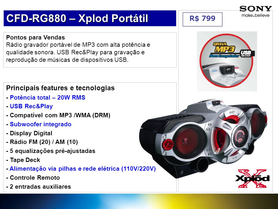 CFD-RG880 – Xplod Portátil