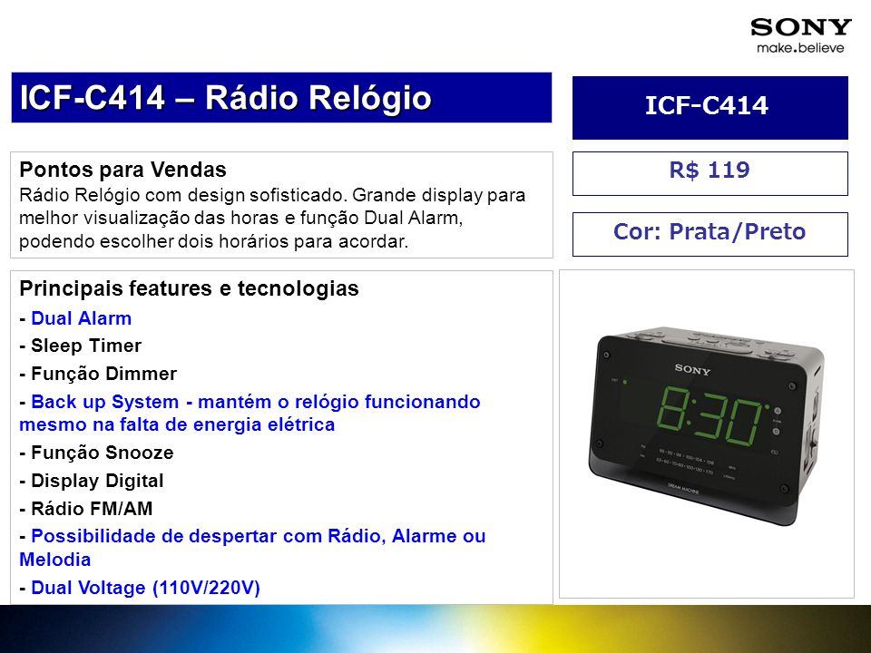 ICF-C414 – Rádio Relógio ICF-C414 Pontos para Vendas R$ 119