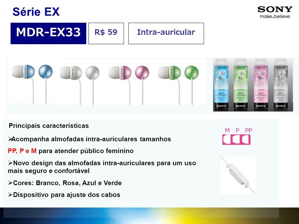 Série EX MDR-EX33 R$ 59 Intra-auricular Principais características