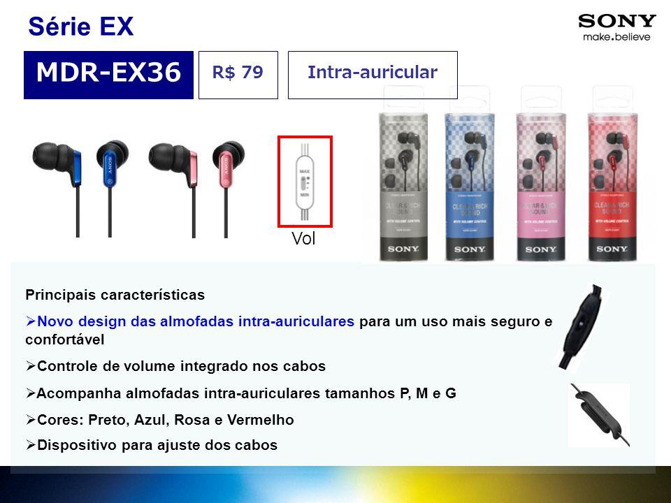 Série EX MDR-EX36 R$ 79 Intra-auricular Vol Principais características