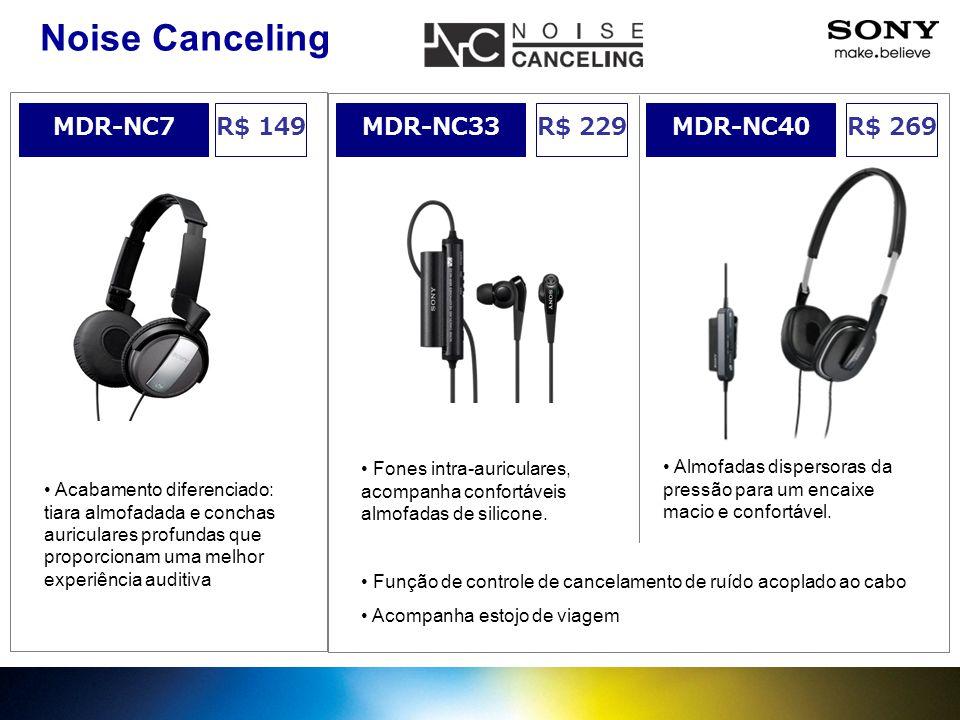 Noise Canceling MDR-NC7 R$ 149 MDR-NC33 R$ 229 MDR-NC40 R$ 269