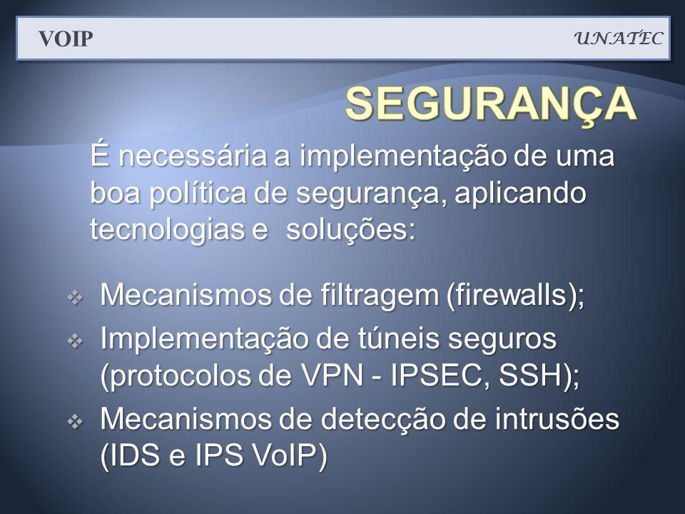 UNATEC VOIP. SEGURANÇA. É necessária a implementação de uma boa política de segurança, aplicando tecnologias e soluções: