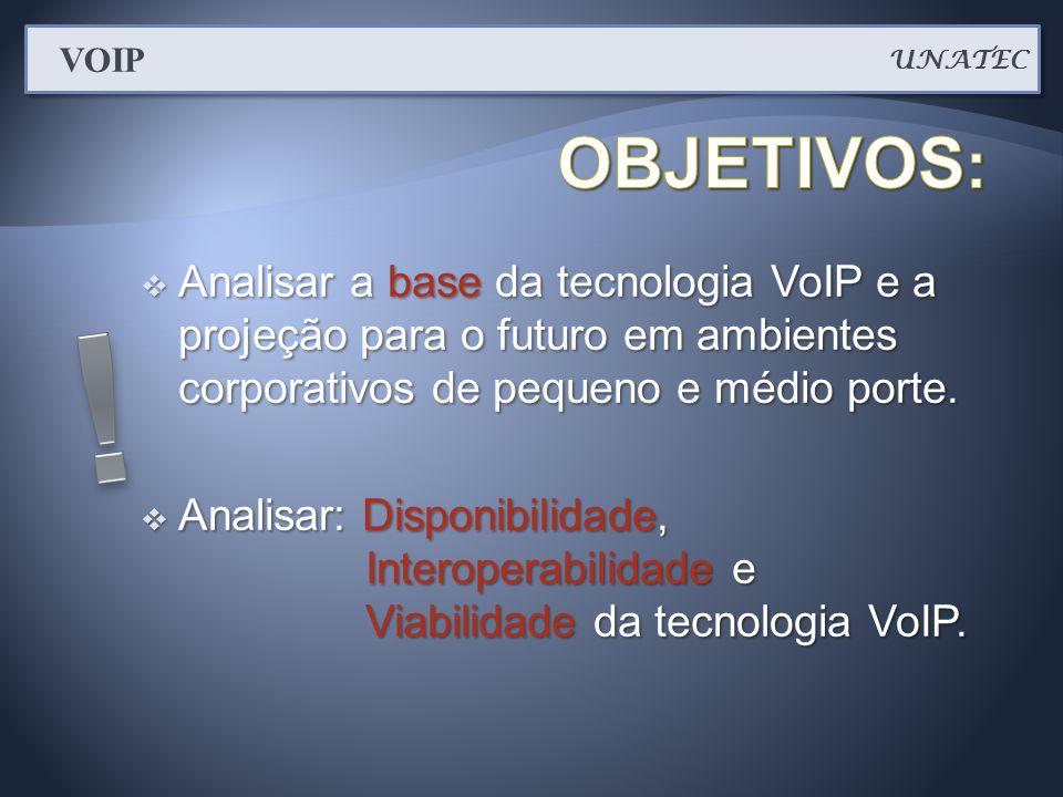 UNATEC VOIP. OBJETIVOS: Analisar a base da tecnologia VoIP e a projeção para o futuro em ambientes corporativos de pequeno e médio porte.