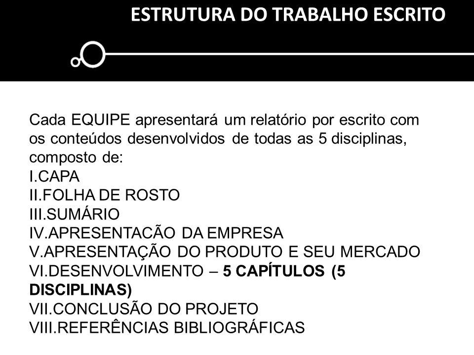 ESTRUTURA DO TRABALHO ESCRITO