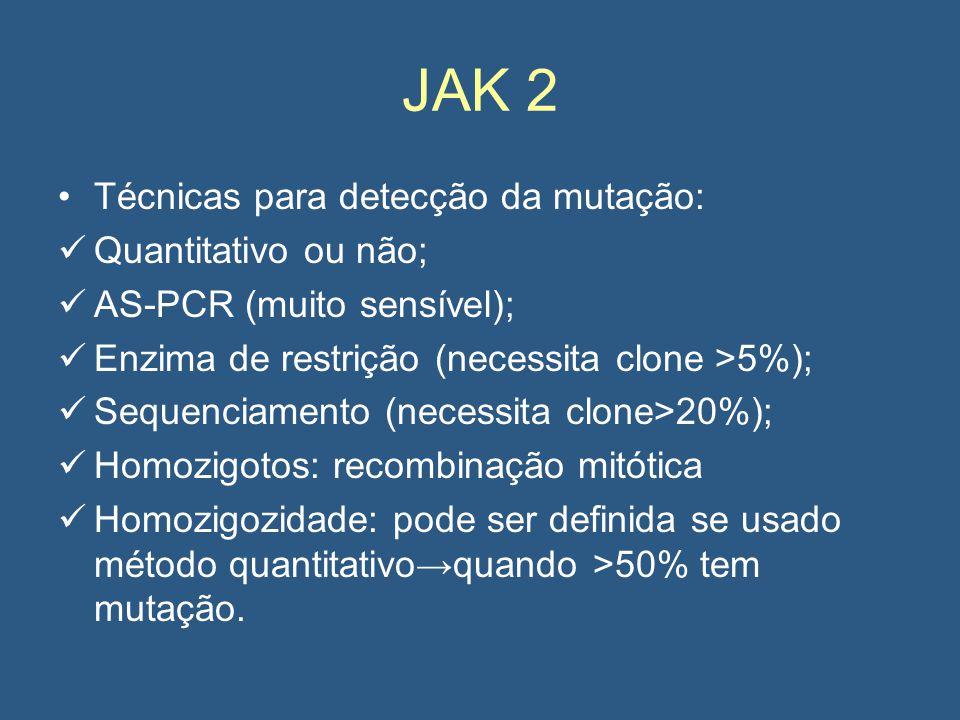 JAK 2 Técnicas para detecção da mutação: Quantitativo ou não;