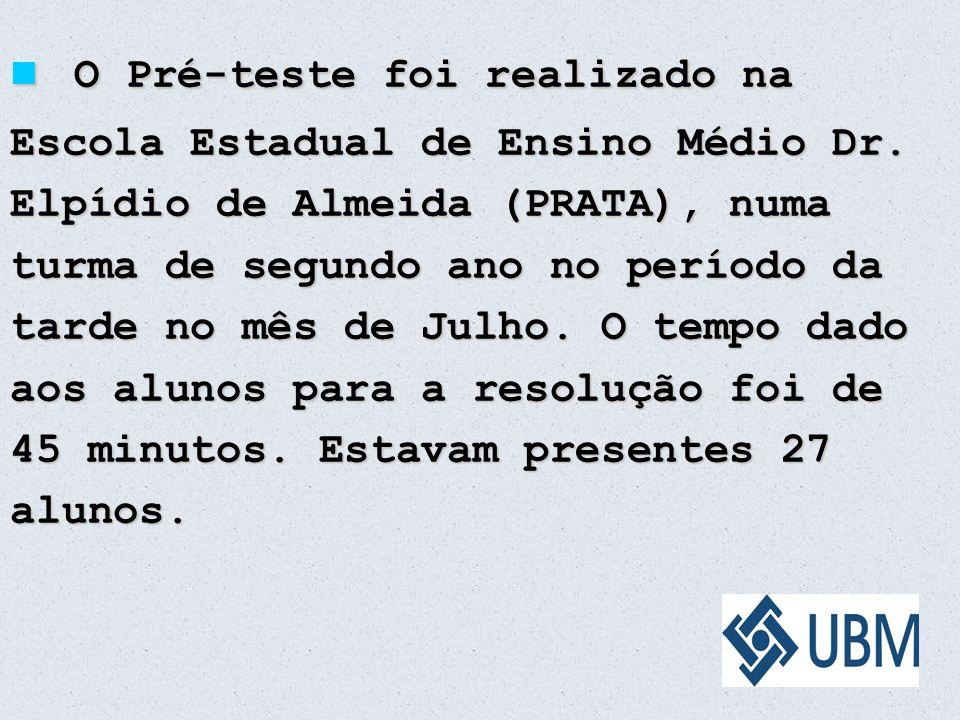 O Pré-teste foi realizado na Escola Estadual de Ensino Médio Dr
