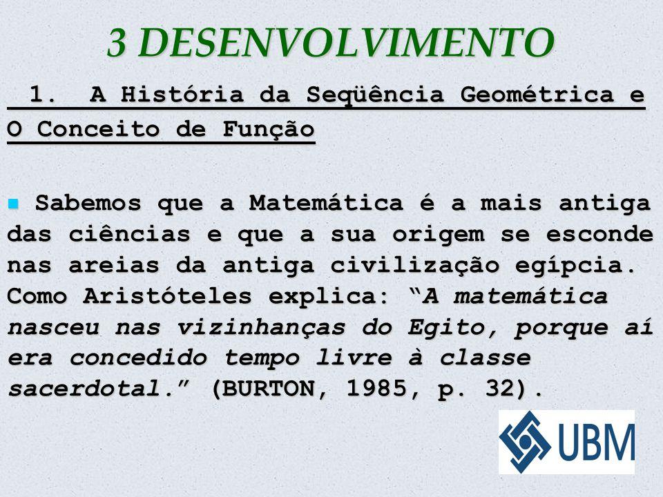 3 DESENVOLVIMENTO 1. A História da Seqüência Geométrica e O Conceito de Função.