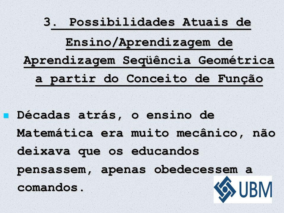 3. Possibilidades Atuais de Ensino/Aprendizagem de Aprendizagem Seqüência Geométrica a partir do Conceito de Função