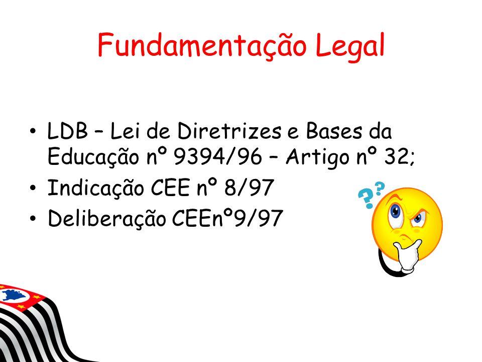 Fundamentação Legal LDB – Lei de Diretrizes e Bases da Educação nº 9394/96 – Artigo nº 32; Indicação CEE nº 8/97.