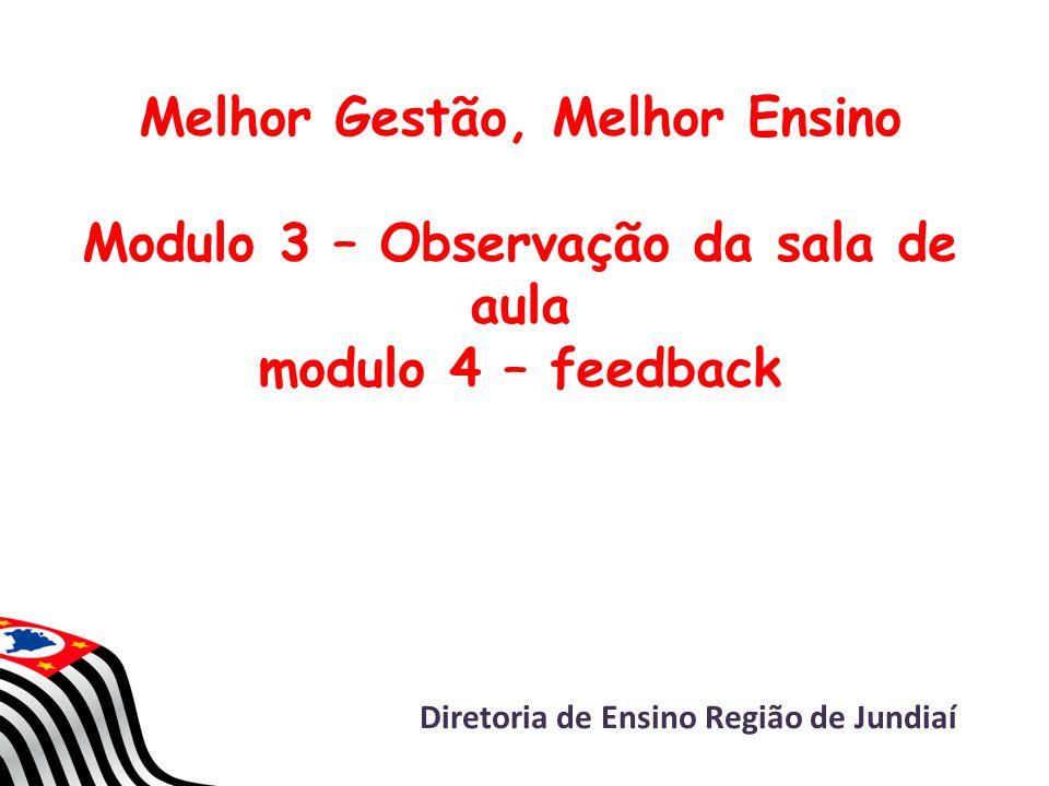 Melhor Gestão, Melhor Ensino Modulo 3 – Observação da sala de aula modulo 4 – feedback