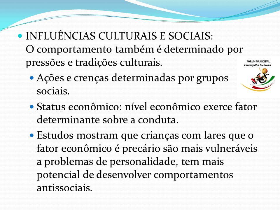 INFLUÊNCIAS CULTURAIS E SOCIAIS: O comportamento também é determinado por pressões e tradições culturais.
