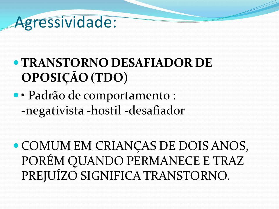 Agressividade: TRANSTORNO DESAFIADOR DE OPOSIÇÃO (TDO)