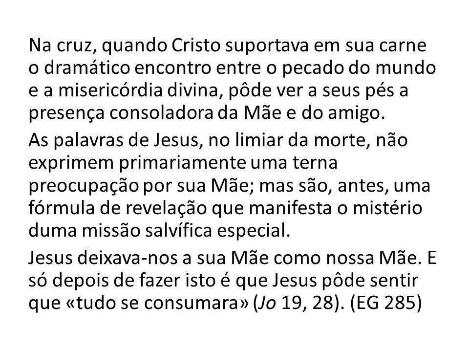 Na cruz, quando Cristo suportava em sua carne o dramático encontro entre o pecado do mundo e a misericórdia divina, pôde ver a seus pés a presença consoladora da Mãe e do amigo.