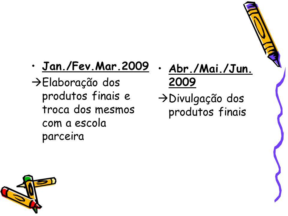 Jan./Fev.Mar.2009 Elaboração dos produtos finais e troca dos mesmos com a escola parceira. Abr./Mai./Jun. 2009.