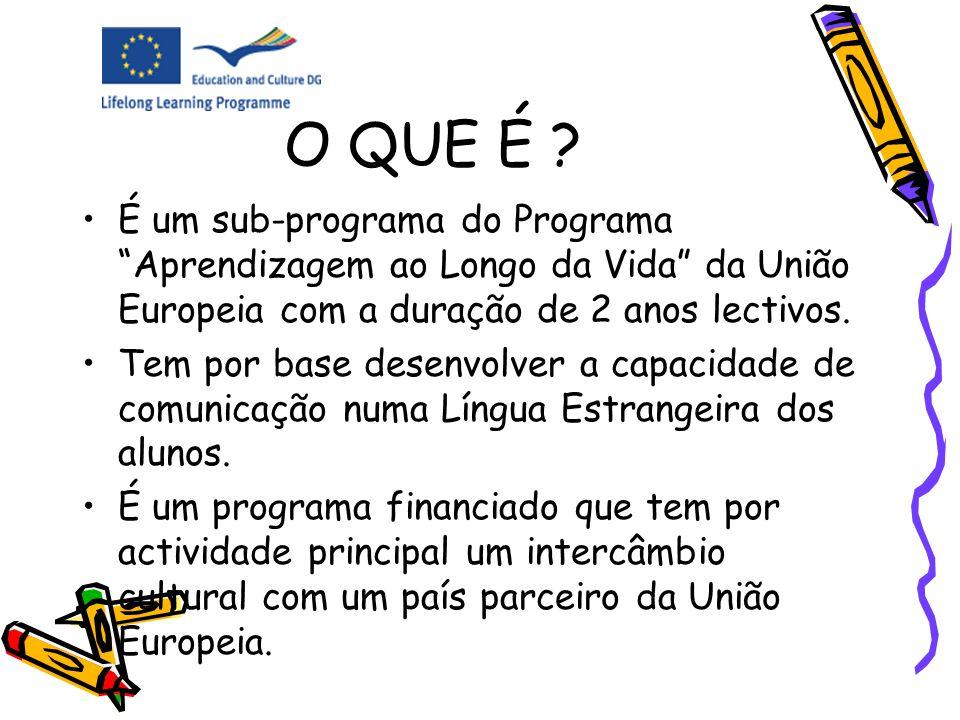 O QUE É É um sub-programa do Programa Aprendizagem ao Longo da Vida da União Europeia com a duração de 2 anos lectivos.