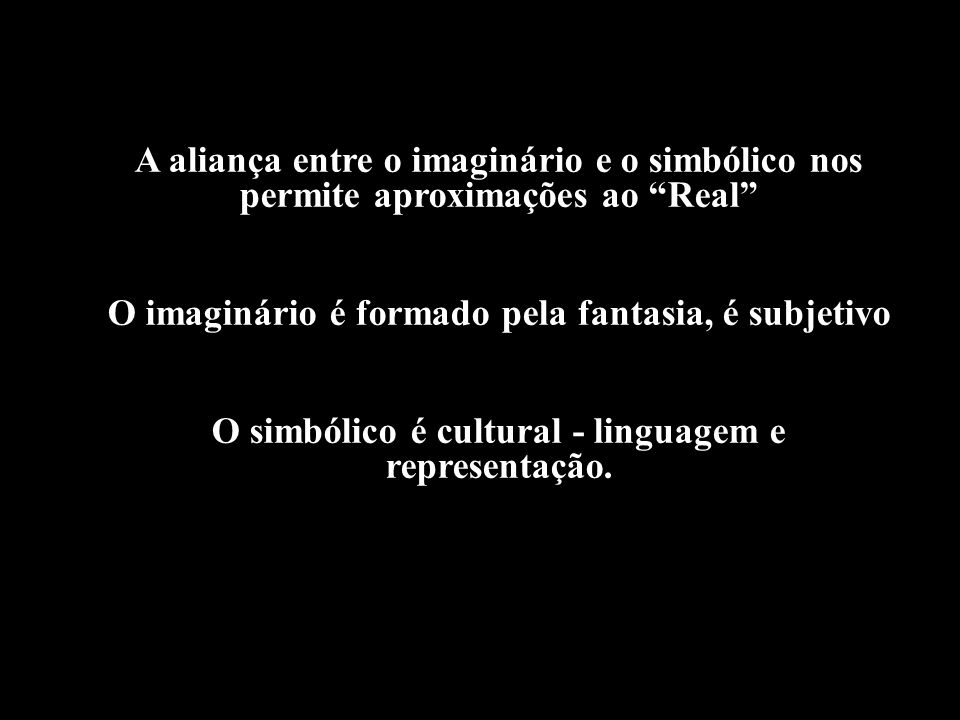 O imaginário é formado pela fantasia, é subjetivo