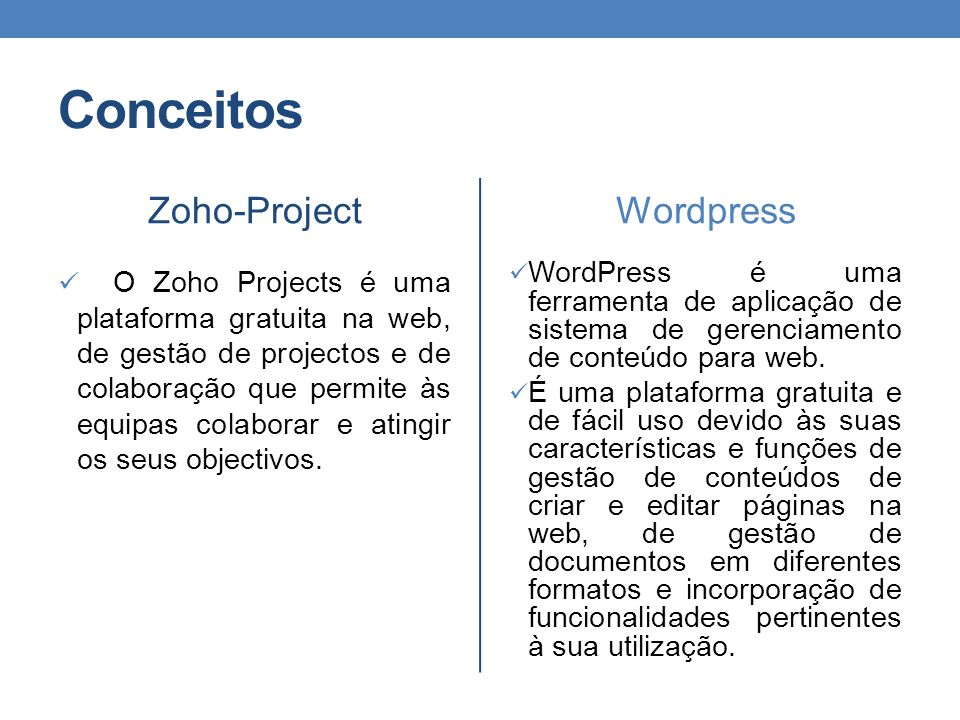 Conceitos Zoho-Project Wordpress