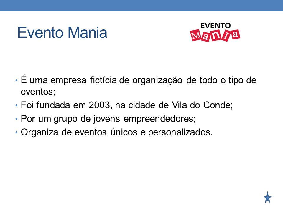 Evento Mania É uma empresa fictícia de organização de todo o tipo de eventos; Foi fundada em 2003, na cidade de Vila do Conde;