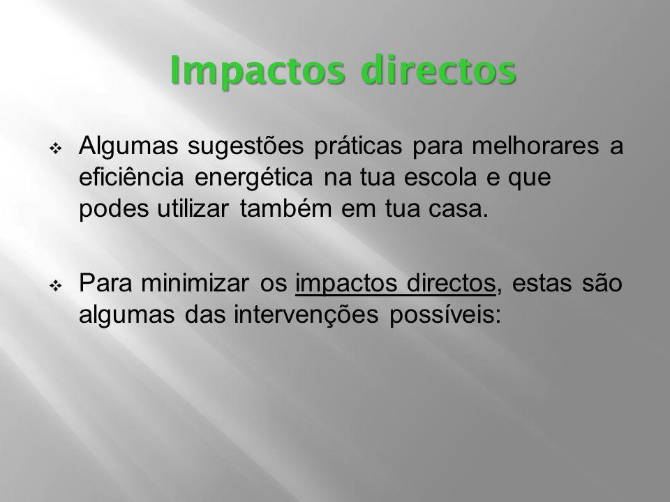 Impactos directos Algumas sugestões práticas para melhorares a eficiência energética na tua escola e que podes utilizar também em tua casa.