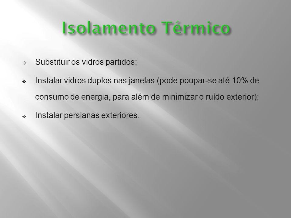Isolamento Térmico Substituir os vidros partidos;