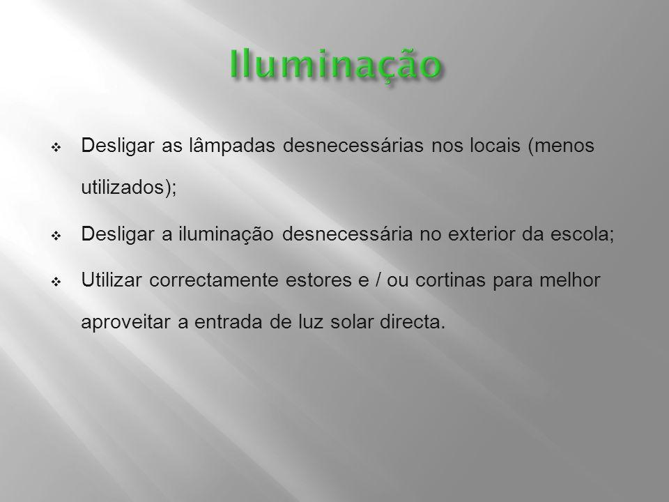 Iluminação Desligar as lâmpadas desnecessárias nos locais (menos utilizados); Desligar a iluminação desnecessária no exterior da escola;