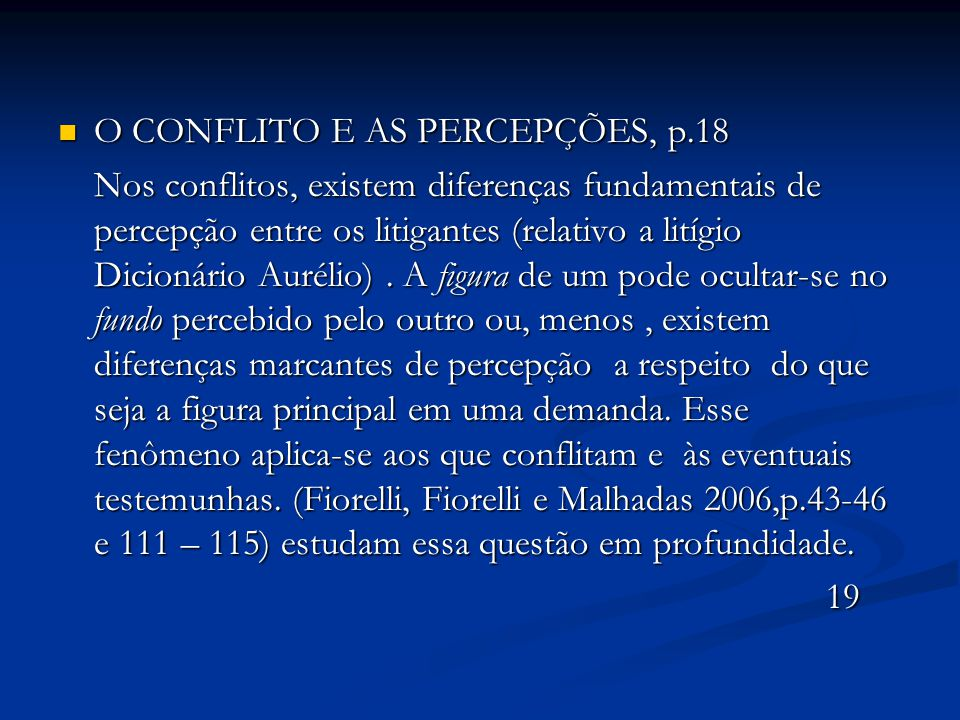 O CONFLITO E AS PERCEPÇÕES, p.18