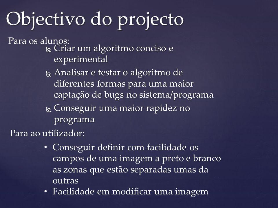 Objectivo do projecto Para os alunos: