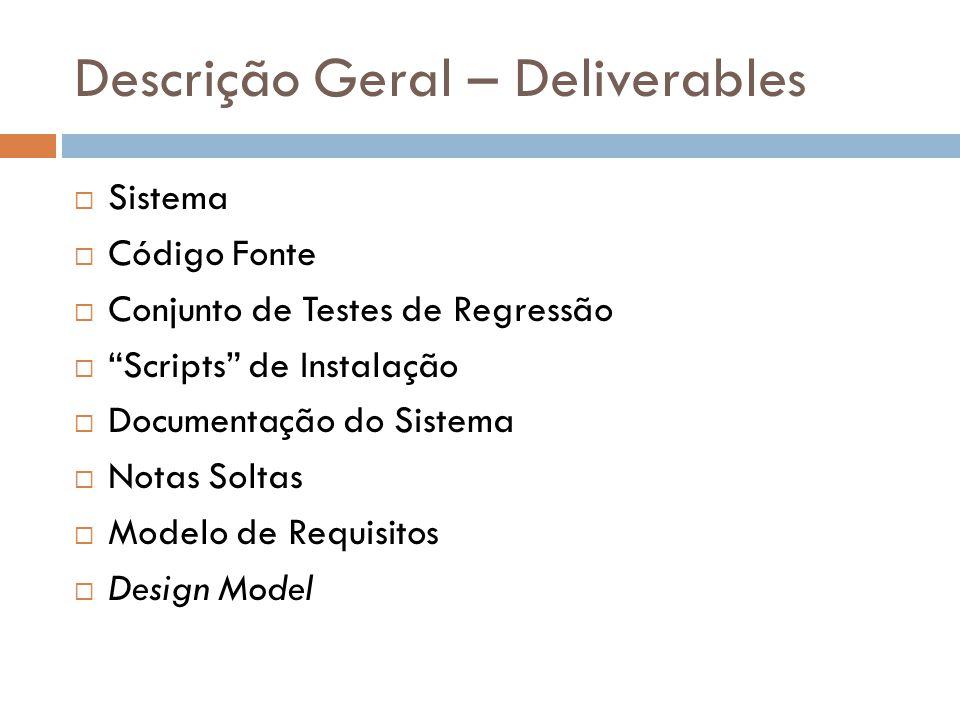 Descrição Geral – Deliverables