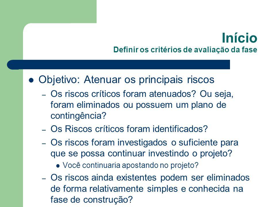 Início Definir os critérios de avaliação da fase