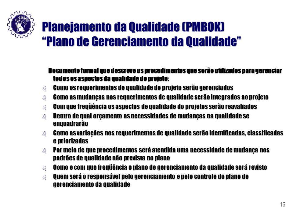 Planejamento da Qualidade (PMBOK) Plano de Gerenciamento da Qualidade
