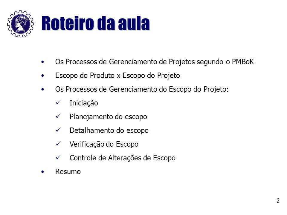 Roteiro da aula Os Processos de Gerenciamento de Projetos segundo o PMBoK. Escopo do Produto x Escopo do Projeto.