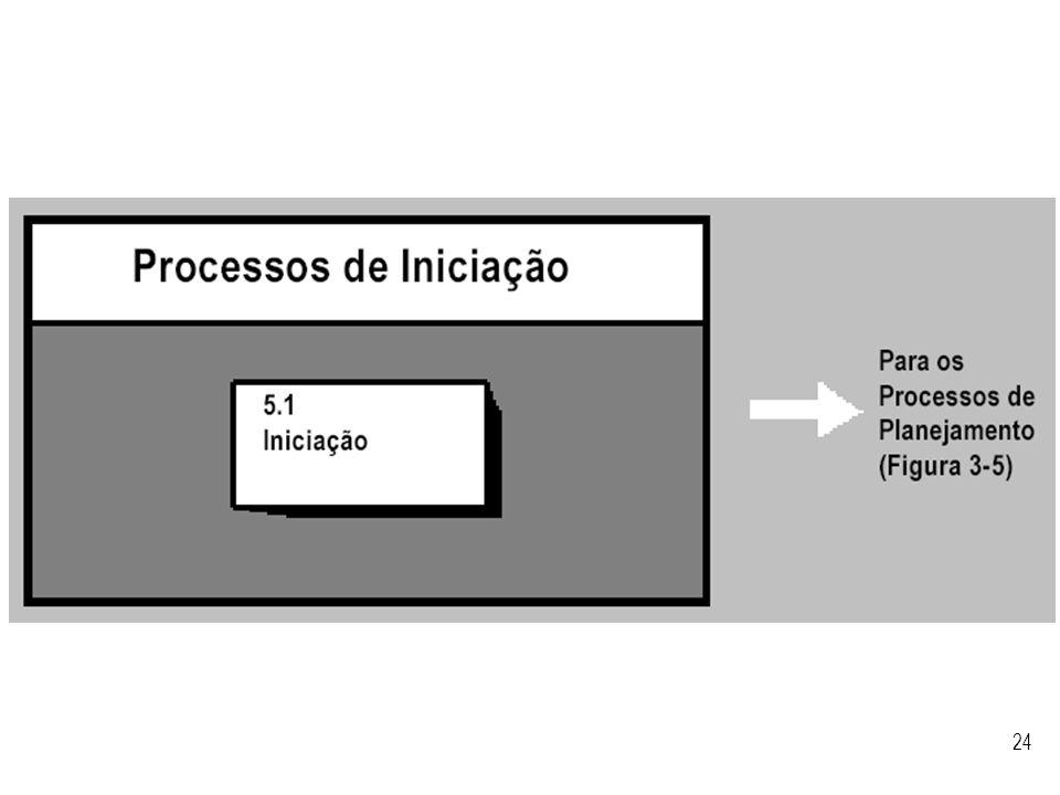 Visão geral do processo de iniciação segundo o PMBoK.