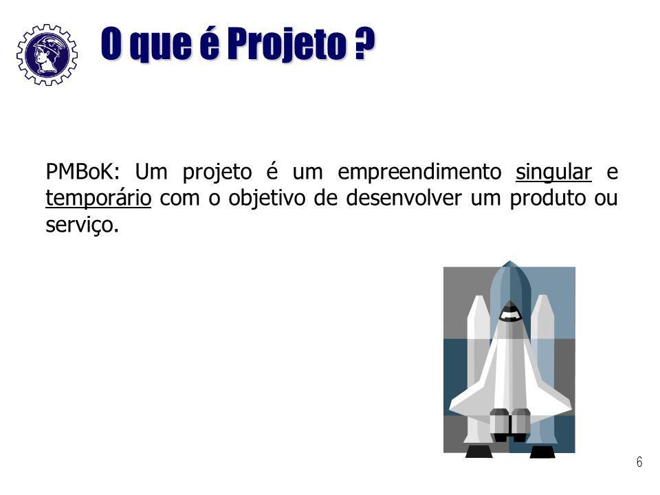 O que é Projeto PMBoK: Um projeto é um empreendimento singular e temporário com o objetivo de desenvolver um produto ou serviço.