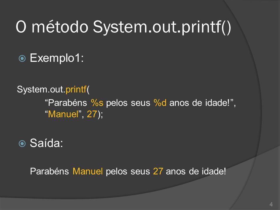 O método System.out.printf()
