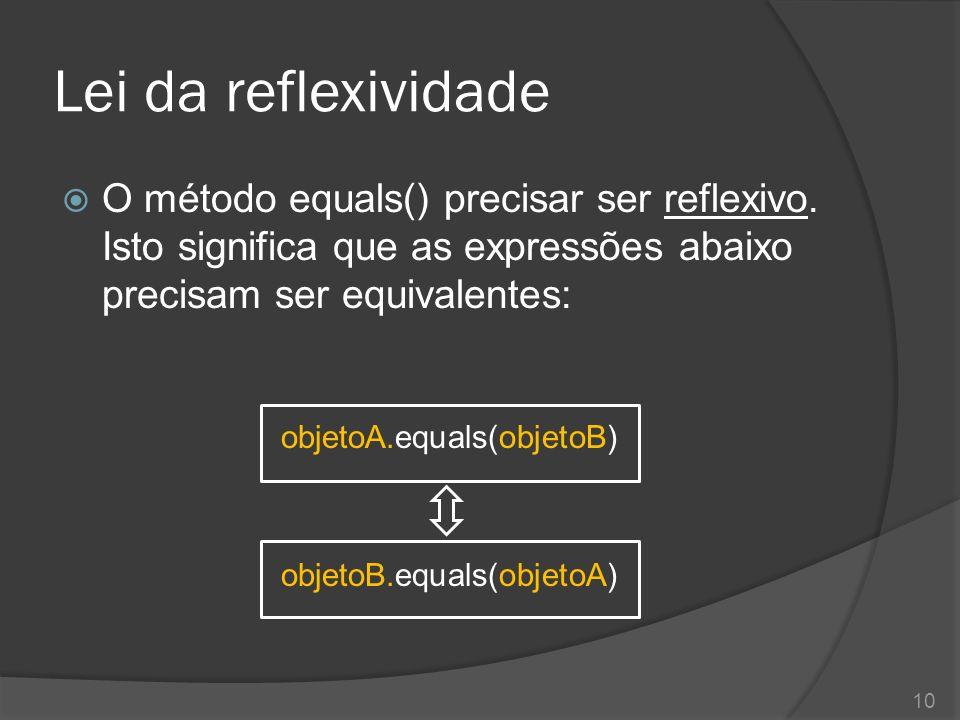 Lei da reflexividade O método equals() precisar ser reflexivo. Isto significa que as expressões abaixo precisam ser equivalentes: