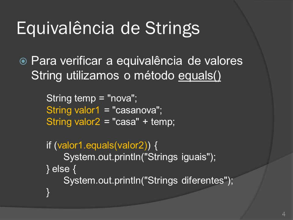 Equivalência de Strings