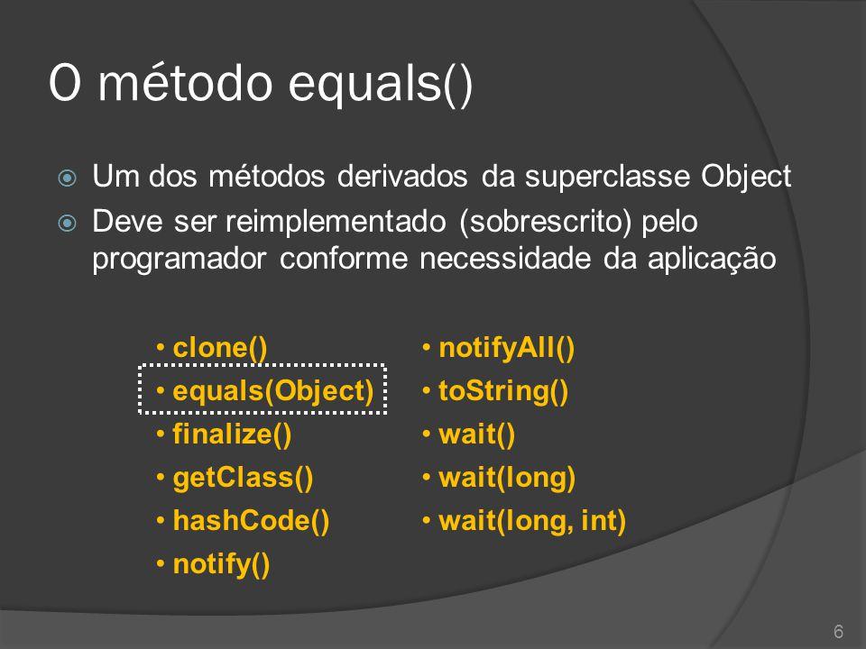 O método equals() Um dos métodos derivados da superclasse Object