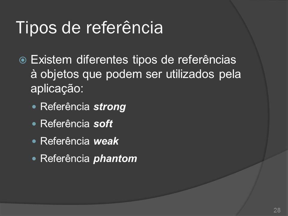 Tipos de referência Existem diferentes tipos de referências à objetos que podem ser utilizados pela aplicação: