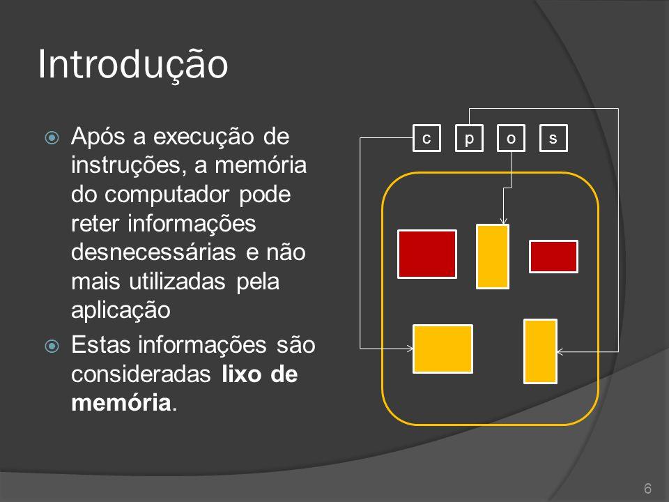 Introdução Após a execução de instruções, a memória do computador pode reter informações desnecessárias e não mais utilizadas pela aplicação.