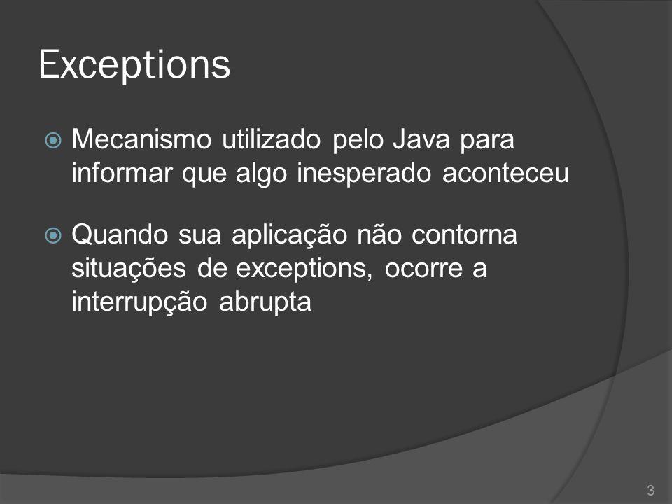 Exceptions Mecanismo utilizado pelo Java para informar que algo inesperado aconteceu.