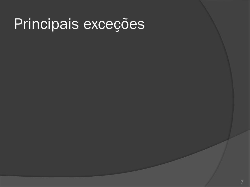 Principais exceções